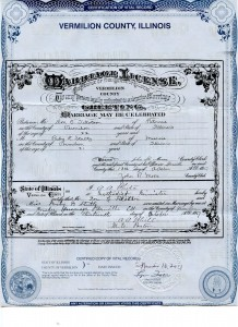Marriage License of Don Carlos Buell Tillotson and Ruby Elise Stultz
